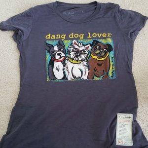 """Dang Dog Lover"" blue dog short sleeve tee"
